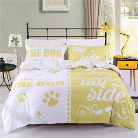 White&Yellow Lovers Sleep with the Dog &My Side Polyester 4-Piece Bedding Sets/Duvet Cover