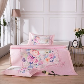 Flower in the Square Digital Printing 3-Piece Summer Sleeping Mat Sets