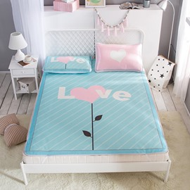 Pink Heart Love Cartoon Printing Ice Air Conditioner 3-Piece Summer Sleeping Mat Sets