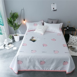 Pink Pomegranate and White Plaid Polyester Cooling Printing 3-Piece Summer Sleeping Mat Sets