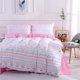 Pink Sweet Style Geometry Pattern Polyester 4-Piece Bedding Sets/Duvet Cover