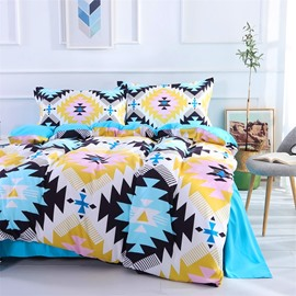 4-Piece Blue And Pink Geometry Pattern Polyester Bedding Sets/Duvet Cover