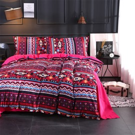 Red Classic Geometry Pattern Polyester 4-Piece Bedding Sets/Duvet Cover
