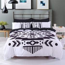 Black And White Unique Geometry Pattern Polyester 4-Piece Bedding Sets/Duvet Cover