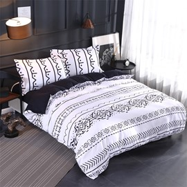 Black And White Chinese Unique Totem Pattern Polyester 4-Piece Bedding Sets/Duvet Cover
