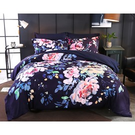 Designer 60S Brocade Peony Pigment Printing 4-Piece Polyester Bedding Sets/Duvet Cover