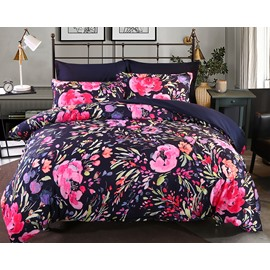 Designer 60S Brocade Multi-Color Flower Watercolor Printing 4-Piece Polyester Bedding Sets/Duvet Cover
