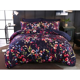 Designer 60S Brocade Flower Blooming Watercolor Printing 4-Piece Polyester Bedding Sets/Duvet Cover