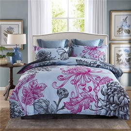 Blooming Flowers Printing Grey 4-Piece Polyester Bedding Sets/Duvet Cover