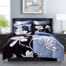 White Floral Printing Black&Blue Polyester 4-Piece Bedding Sets/Duvet Cover