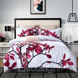 Red Leaves Floral Pattern White Printing 4-Piece Polyester Bedding Sets/Duvet Cover