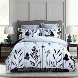 Black Leaves Printing White Polyester 4-Piece Bedding Sets/Duvet Cover