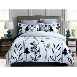 Black Leaves Printing White Polyester 4-Piece Bedding Sets/Duvet Cover