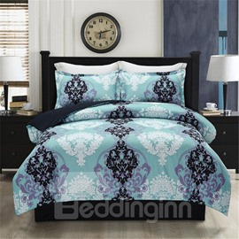 Symmetrical Pattern Turquoise Printing Polyester 4-Piece Bedding Sets/Duvet Cover