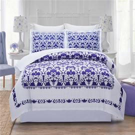 White Regular Geometric Pattern Printing Polyester 4-Piece Bedding Sets/Duvet Cover