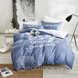 Loving You and My Dear Letter Printing Blue 4-Piece Polyester Bedding Sets/Duvet Cover