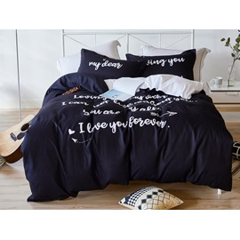 My Dear Theme Letter Printing Black 4-Piece Polyester Bedding Sets/Duvet Cover