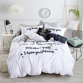 Loving You Letter Printing White 4-Piece Polyester Bedding Sets/Duvet Cover
