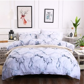 White Marble Printed 3-Piece Polyester Bedding Sets Buffy Zipper Duvet Cover for All Seasons