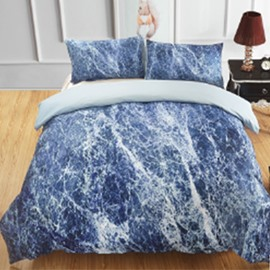 Navy Marbling Design Printing Polyester 3-Piece Bedding Sets/Duvet Cover