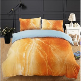 Yellow Marbling Reactive Printing Polyester 3-Piece Bedding Sets/Duvet Cover