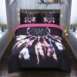 Feather Ornaments Black Dream Catcher 4-Piece Polyester Bedding Sets/Duvet Cover