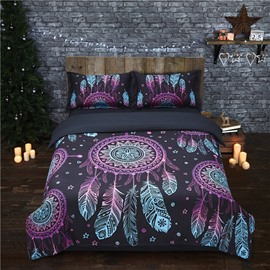 Colorful Feathers Bohemia Style Dream Catcher Black 4-Piece Polyester Bedding Sets/Duvet Cover