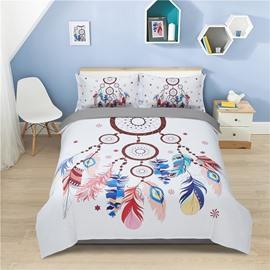 Multi Color Feathers Dream Catcher 4-Piece Polyester Bedding Sets/Duvet Cover