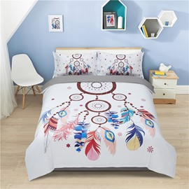Multi Color Feathers Dream Catcher 4-Piece Polyester Bedding Sets/Duvet Cover