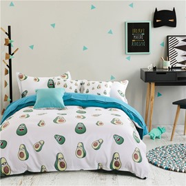 Hand-painted Personified Avocado 4-Piece Polyester Bedding Sets/Duvet Cover