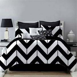 Zigzag Graphics Design Black&White Printing 4-Piece Polyester Bedding Sets/Duvet Cover