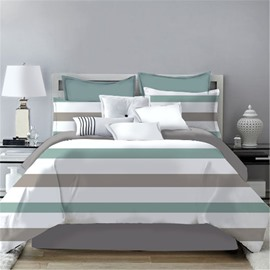 Simple Stripes Design Printing 4-Piece Polyester Bedding Sets/Duvet Cover