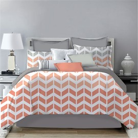 V Shape Simple Geometric Pattern Printing 4-Piece Polyester Bedding Sets/Duvet Cover