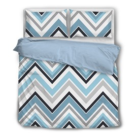 Simple Zigzag Graphics Printing 4-Piece Polyester Bedding Sets/Duvet Cover