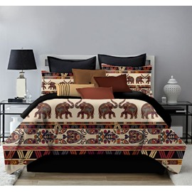 Bohemian Elephant Printing 4-Piece Polyester Bedding Sets/Duvet Cover