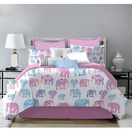 Red and Blue Little Elephant Printing 4-Piece Polyester Bedding Sets/Duvet Cover