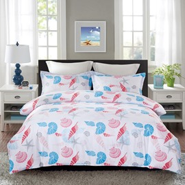 Red and Blue Sea Shell Printing 4-Piece Polyester Bedding Sets/Duvet Cover