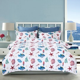 Colorful Sea Fish Printing 4-Piece Polyester Bedding Sets/Duvet Cover