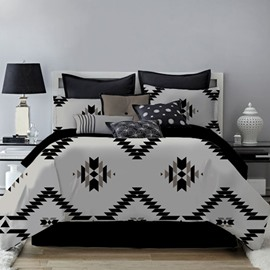 Unique Geometric Pattern Black Printing 4-Piece Polyester Bedding Sets/Duvet Cover
