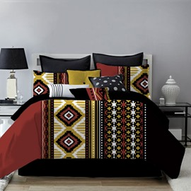 Ethnic Geometric Style Multi-color Printing 4-Piece Polyester Bedding Sets/Duvet Cover
