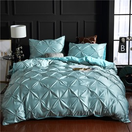 Lake Blue/Gray Unique Pintuck Pleat Style Skin-friendly 3-Piece Bedding Sets Pure Color Zipper Duvet Covers