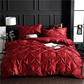 Red Luxury Pinch Pleat Style Polyester 3-Piece Bedding Sets/Duvet Covers Colorfast Wear-resistant Endurable