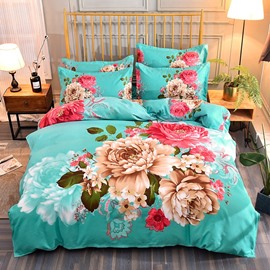 Blooming Peonies Printed Polyester 4-Piece Bedding Sets/Duvet Cover
