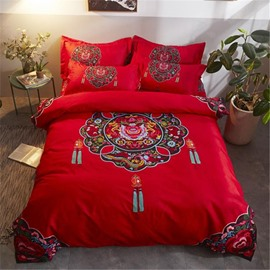Red Pendant Printing Polyester 4-Piece Bedding Sets/Duvet Cover