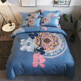 Floral Pattern Printed Polyester 4-Piece Bedding Sets/Duvet Cover