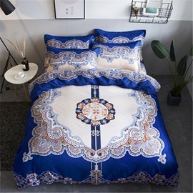 Symmetric Figure Pattern Blue Polyester 4-Piece Bedding Sets/Duvet Cover