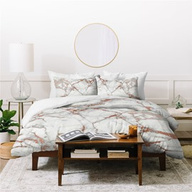 Soft And Comfortable Natural Style Marbling Printed 4-Piece Polyester Bedding Sets/Duvet Cover