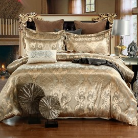Golden Jacquard Royal Style Reactive Printing 4-Piece Polyester Bedding Sets/Duvet Covers