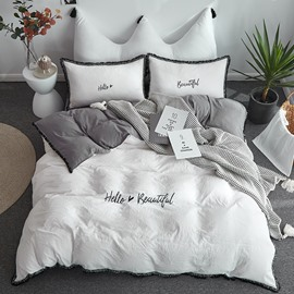 White Colour Simple Style Duvet Cover Embroider and Macrame Bedding 4-Piece Washable Bedding Sets/Duvet Cover