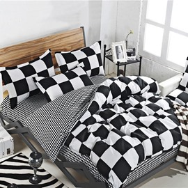 Black and White Check Duvet Cover Soft 4-Piece Washable Polyester Classic Bedding Sets